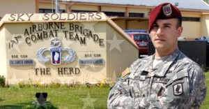 Staff Sergeant Salvatore Giunta in front of his brigade headquarters