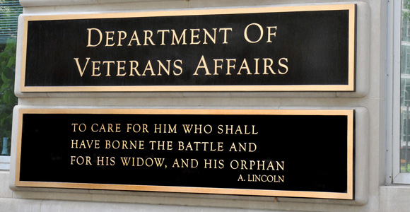 The plaque outside the U.S. Department of Veterans Affairs Central Office
