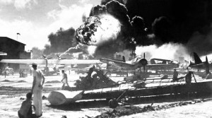 A fire rages during the attack on Pearl Harbor
