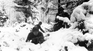 Soldiers dug in during the Battle of the Bulge
