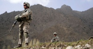 A U.S. Soldier provides security during combat operations near Forward Operating Base Herrara, Afghanistan, April 18, 2009. (U.S. Air Force photo by Staff Sgt. Shawn Weismiller/Released