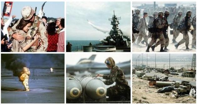 Montage of six photos depicting scenes from the first Gulf War