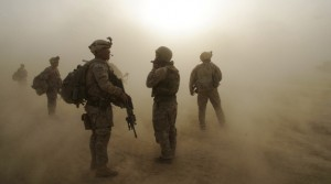 Soldiers standing in a duststorm