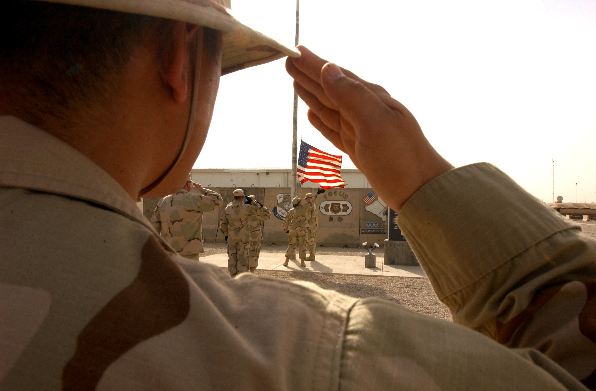 Veterans salutes the American flag.