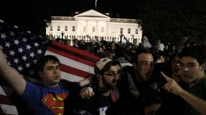 Photo of people celebrating outside The White House