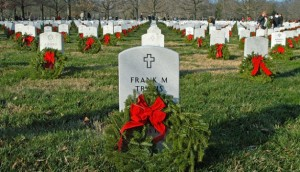 A wreath at Arlington National Cemetery