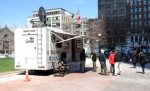 A Mobile Vet Center near the site of the Boston Marathon bombing. VA staff began seeing affected Veterans onsite following the attack.