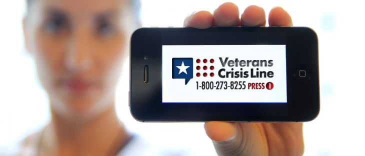 Image of Veteran Crisis Line placard