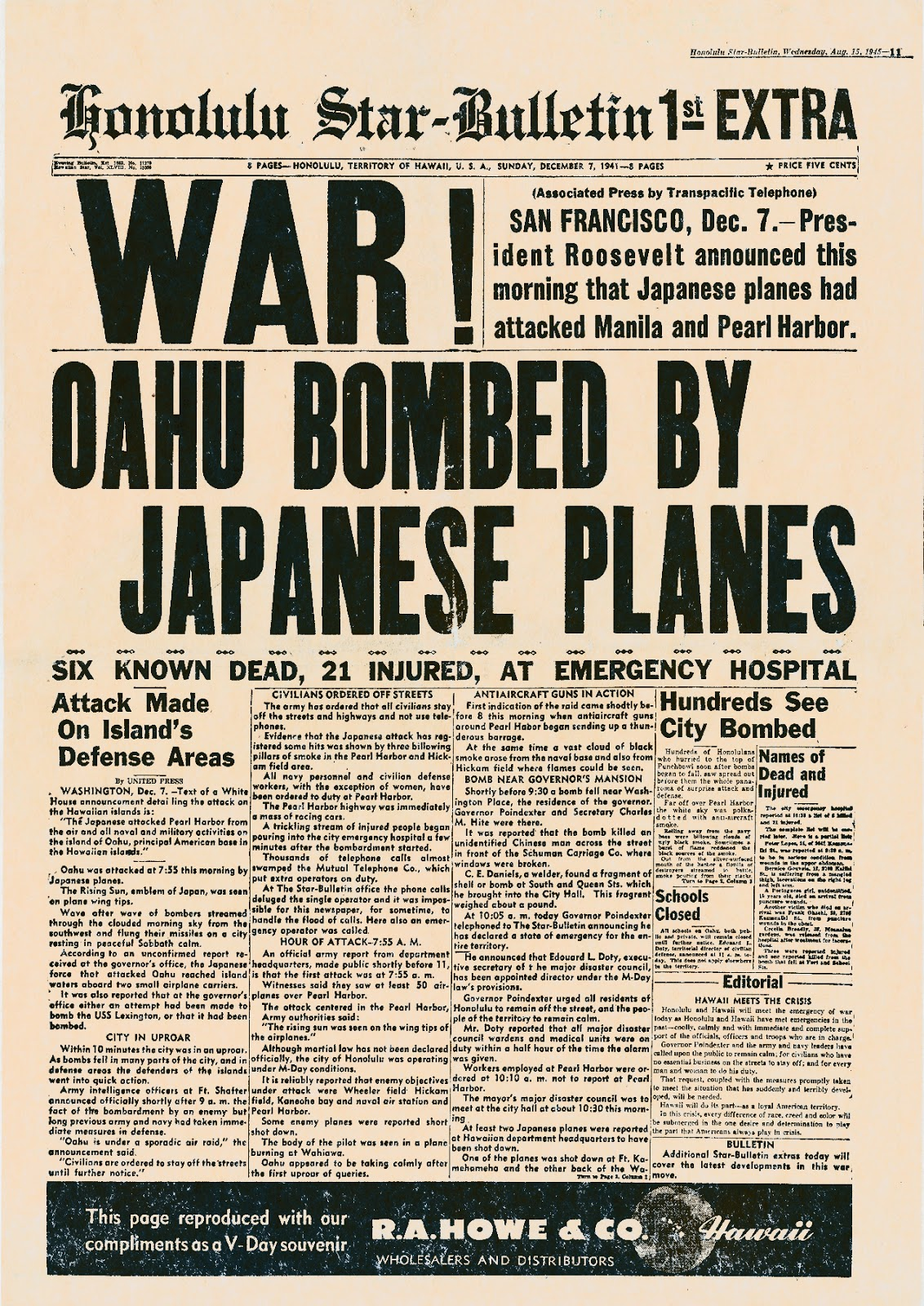 pearl harbor paper The japanese surprise attack on the us navy's base at pearl harbor [2] and   donald goldstein and and katherine v dillon , the pearl harbor papers, 1993.