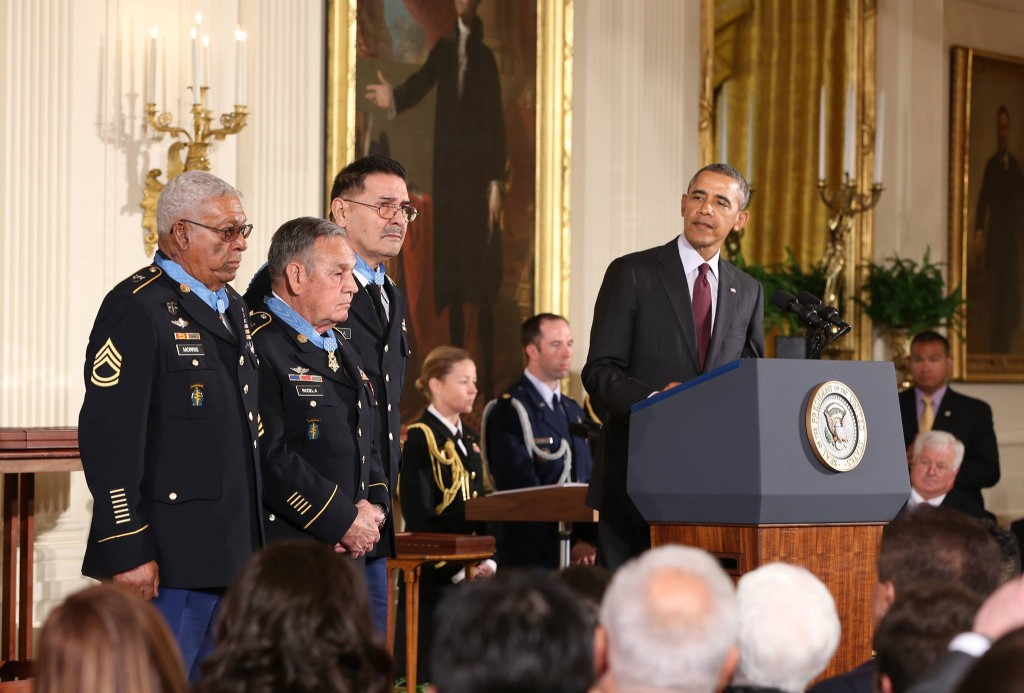 Twenty-four Soldiers were presented the Medal of Honor today. Three of the living Medal of Honor recipients from today's #Valor24 Ceremony, Melvin Morris (right), Jose Rodela and Santiago Erevia are pictured here at the White House.