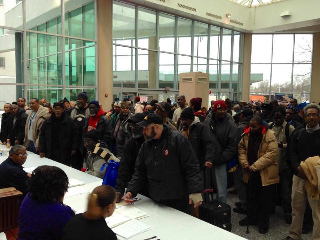 Homeless Veterans and others line up during the 16th annual Winter Haven Homeless Stand Down in Washington D.C. Jan. 25.