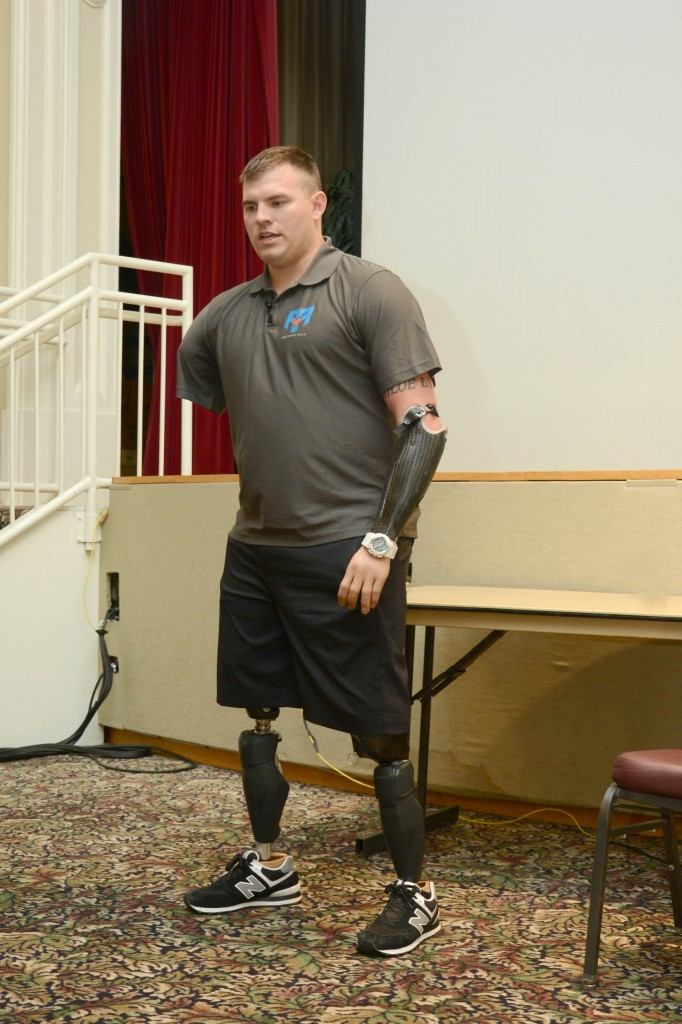 Army Veteran Travis Mills, one of the five surviving quadruple-amputees from the wars in Iraq and Afghanistan, speaks at the Dorn VA Medical Center. (VA Photo/Ken Holt)