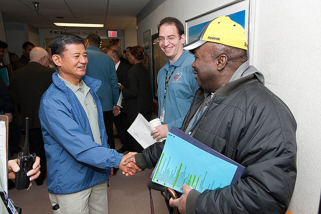 On January 22, 2011, the Secretary greeted and met some of the more than 400 metropolitan area homeless Veterans at the VA medical center's annual Winterhaven Homeless Stand Down in Washington, DC.  (VA photo/Andrew White)