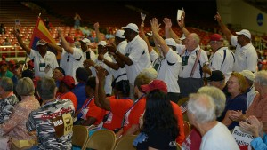 Veterans from Illinois cheer as their state is announced.