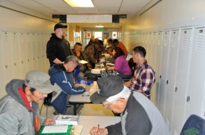 Veterans apply for benefits at the Bethel, AK Stand Down.