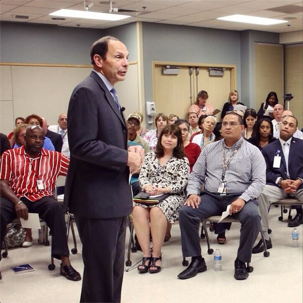 Sec. Robert McDonald addresses Veterans and VA employees at the Phoenix VAMC