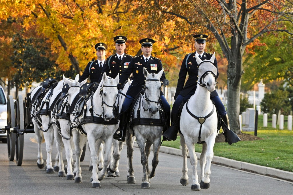 Spc. Kevin Morthorst (right), infantryman, Caisson Platoon, 3rd U.S. Infantry Regiment (The Old Guard), and members of his squad, return to the Caisson horse stables after performing various funerals in Arlington National Cemetery, Va., Nov. 9. On this day, Morthorst preformed his 1,000th memorial ceremony with the Caisson platoon. (U.S. Army photo by Sgt. Luisito Brooks)