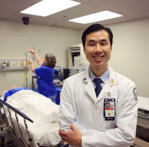 Dr. Chan Park, Director of Simulated Medicine and Attending Physician at the Durham VAMC, stands in the Simulation Center. He has been a VA employee for 3 years and was a US Navy officer for 10 years.