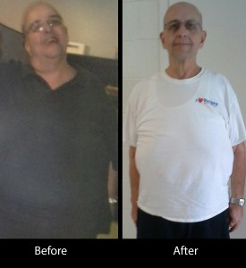 Ray just after taking control of his weight and today.
