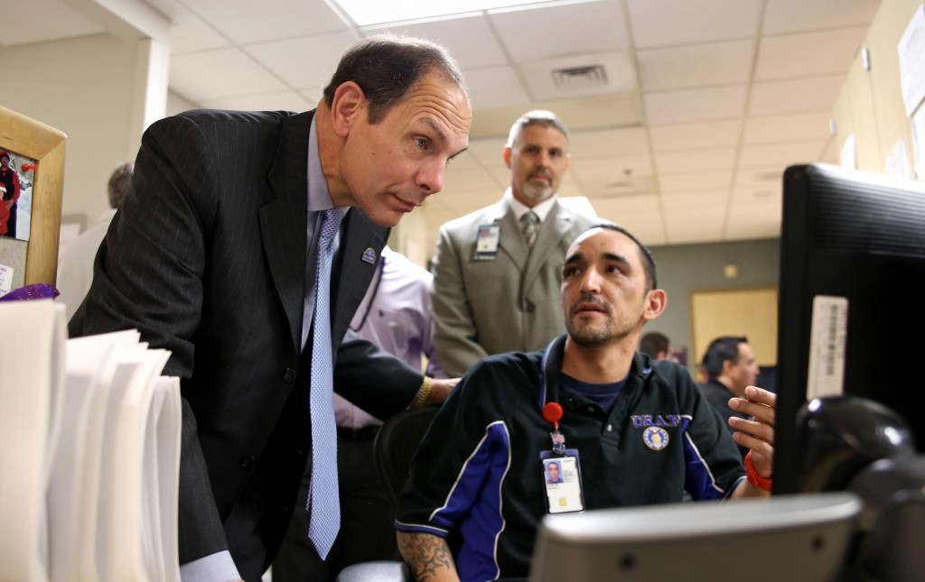 Bob McDonald's first visit as VA Secretary was  to the Phoenix VAMC where he met with veterans and employees like Medical Support Assistant Michael Logie. He also visited the Las Vegas VAMC during the trip.