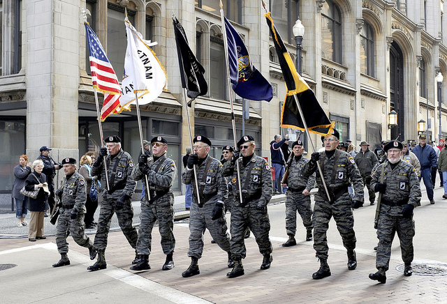 Vietnam Veterans participate in the Pittsburgh Veterans Day parade. VA photos by Glenn Hangard, 2011.