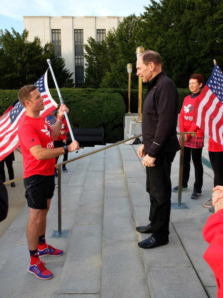 RWB Founder Mike Erwin passes Old Glory to VA Secretary Bob McDonald