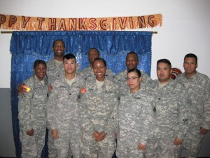 Soldiers from 1BCT 4ID S4 at FOB Falcon, Iraq celebrate Thanksgiving, 2008. Submitted by retired MSG Wanda Tapp-Kratzer
