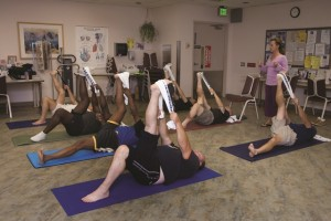 A yoga class is in session at the VA San Diego Healthcare System. (Photo by Kevin Walsh)