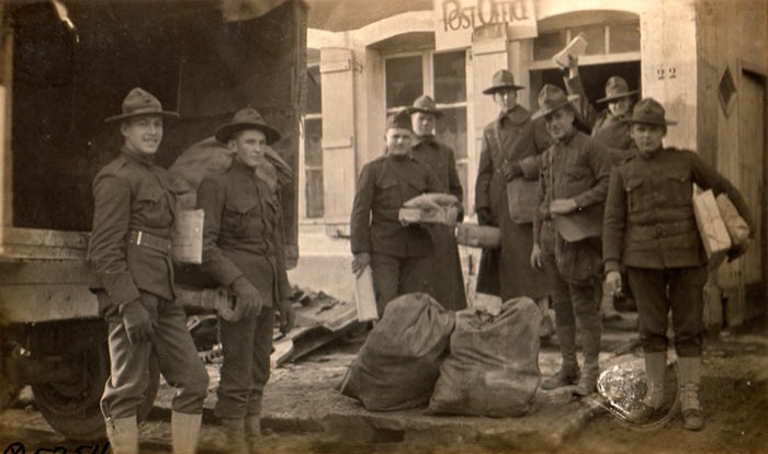 Christmas mail arrives at Bruvans, France, 1917 much to the joy and happiness of the U.S. servicemen