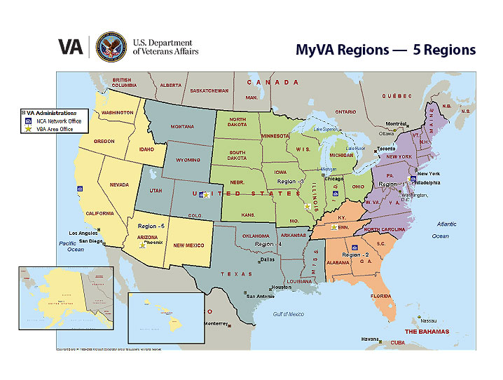 VA Announces Single Regional Framework Under MyVA Initiative - Map of the 5 regions of the us