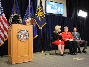 a panel consisting of Under Secretary of Benefits Allison A. Hickey (Veterans Benefits Administration), Chief Consultant for Women's Health Services Dr. Patricia Hayes (Veterans Health Administration), and Deputy Under Secretary for Finance and Planning/Chief Financial Officer Mr. Matthew Sullivan (National Cemetery Administration), each briefly discussed his or her administration's motivation and participation in this collaborative campaign.