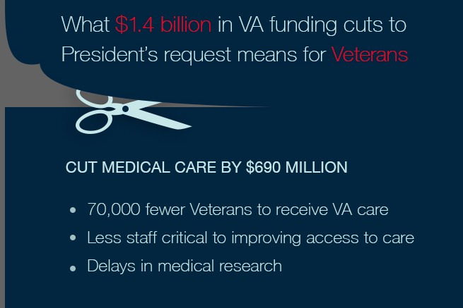 graphic outlining effect of cuts on VA care