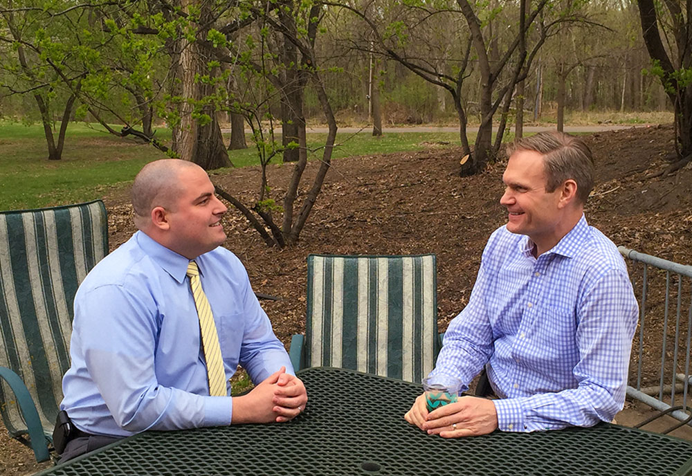 Adam Anicich (L) and Dr. Joel Scholten reflect on Adam's journey - See more at: http://www.va.gov/HEALTH/NewsFeatures/2015/May/10th-Anniversary-of-VAs-Polytrauma-Program.asp#sthash.VR2ZwDMz.dpuf