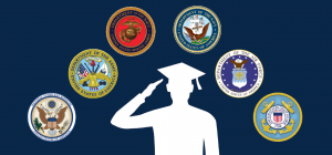 GI Bill - graphic shows a silhouette of a person saluting while wearing a graduation cap, and above are seals of different branches of service.