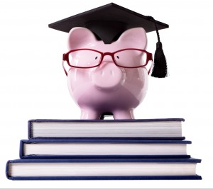 Pig on top of books with glasses