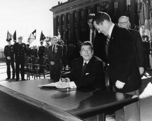 President Reagan signs the VA in to cabinet.
