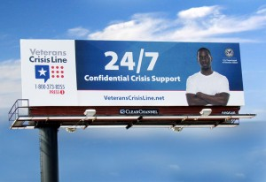 A bill board promoting the Veterans Crisis Line