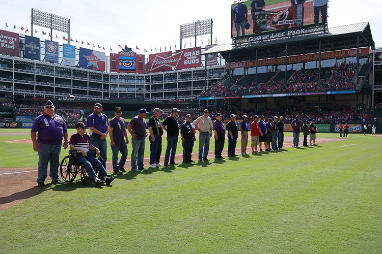 Texas Rangers recognized 40 wounded warriors in a pre-game ceremony