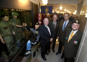 From L to R: William �Bill� Hester, Chief of Exhibits; Kevin Hanretta, Assistant Secretary for OSP; Major General (ret) Jim Jackson, and Tom Burke