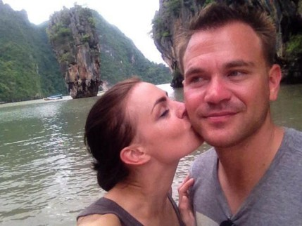 Danielle Begg kisses and Ryan Begg on James Bond Island
