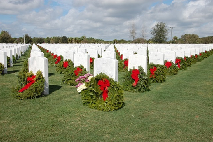 Image: wreaths in a national cemetery