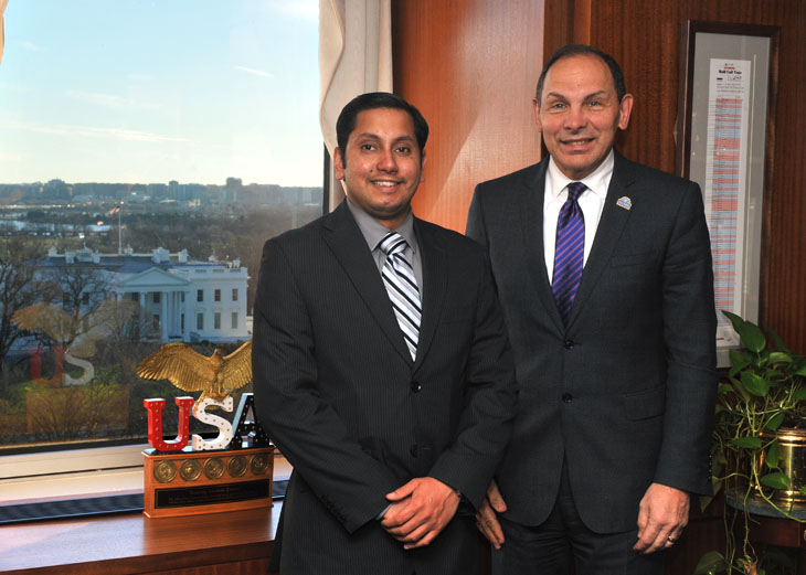 Naveed Shah met with VA Secretary Bob McDonald on Jan. 11, 2016. Shah, an advocate with Iraq and Afghanistan Veterans of America, will attend the 2016 State of the Union address. (Photo by Robert Turtil/U.S. Department of Veterans Affairs.)