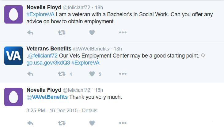 #ExploreVA employment services Twitter chat