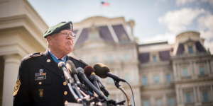 Command Sgt. Maj. Bennie G. Adkins participating in a press conference just after receiving the Medal of Honor at the White House, Sept. 15, 2014. (Photo: Staff Sgt. Bernardo Fuller)