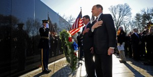 VA Secretary Bob McDonald and Defense Secretary Ash Carter at the Vietnam Wall