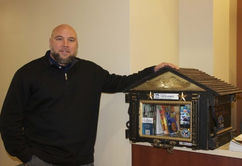VA peer support specialist and Army Veteran Chris Tucker created a Little Free Library for VA Central Iowa Health Care System.