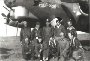 95th BG(H) Poltava Ukraine 18 SEP 1944: After flying from Horham England and dropping supplies to the Warsaw uprising in a FRANTIC mission, Excelsior landed in Poltava USSR. It was meet by ground crew from the US and Russia, but plane was too damaged to fly on. The crew flew another B-17 on to Foggia Italy and back to England, while doing aerial recon for landings in Southern France.  Top L-R: Charles Kupsky (top turret gunner), American (ground crew), Frank S. Van Dorn (bombadier), Robert B. Hastie (copilot), Merle L. Lindsey (ball turret gunner)  Bottom L-R: Russian (ground crew), F. Claud Alford (tail gunner), Art J. Niemczyk (radio operator), Russian (ground crew), Matthew J. McEntee (pilot)  Photographer: Richard Tyhurst (navigator)