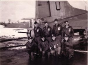 95th BG(H)  Top L-R: F. Claud Alford (tail gunner), Charles Kupsky (top turret gunner), Robert Morgan (waist gunner), Art J. Niemczyk (radio operator)  Bottom L_R: Frank S. Vandorn (bombadier), Earl Madigan (pilot), Robert B. Hastie (copilot), Richard Tyhurst (navigator)  Photographer: Merle L. Lindsey (ball turret gunner)