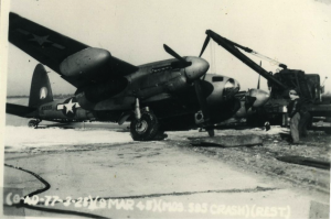 Mosquito (N5595) flown with the 25th BG(SP) and crashed on landing Mar. 9, 1945: