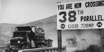 "Image Of Sign ""You are Crossing the 38th Parallel"""